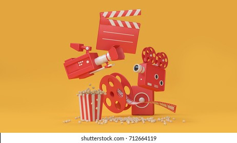 3d render abstract background of movie-cinema element movie,cinema,entertainment concept