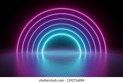 3d render, abstract background, neon lights, glowing lines, round portal, arch, virtual reality, tunnel, pink blue spectrum vibrant colors, laser show