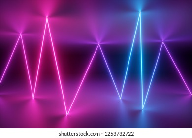 3d render, abstract background, neon lights, glowing, laser show, stage design, virtual reality environment, zigzag glowing line, ultraviolet spectrum, pink blue, vibrant colors
