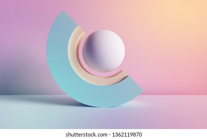 3d render, abstract background, pastel neon primitive geometric shapes, ball, arch, simple mockup, minimal design elements