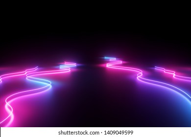 3d render, abstract background, pink blue neon light, glowing dynamic wavy lines on the floor, ultraviolet spectrum