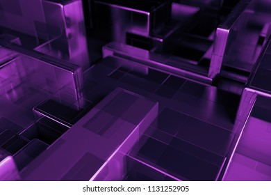 3d render abstract background. Random scale of rectangular metallic shapes. Simple primitives clonned with overlay each other.