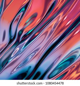 3d render, abstract background, red blue holographic foil, iridescent wavy glass, cosmic texture, ripple, liquid surface, metallic reflection, esoteric aura. For creative projects: cover, fashion, web