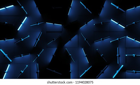 3d render abstract background with rotated mechanical like elements. Clones of simple geometry with random angle of rotation. Some of elements emit lights.