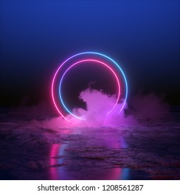 3d render, abstract background, round portal, pink blue neon lights, virtual reality, circles, energy source, glowing rings, blank space, frame, ultraviolet spectrum, laser show, smoke, fog, ground
