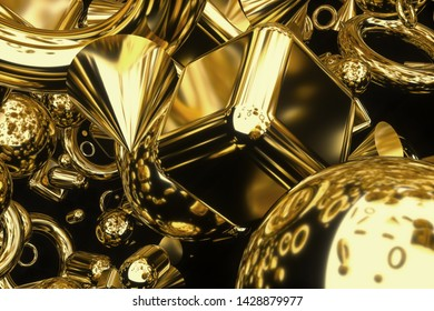3d render of abstract 3d background with simple geometry figures as cube sphere cone cylinder torus in gold material on black background