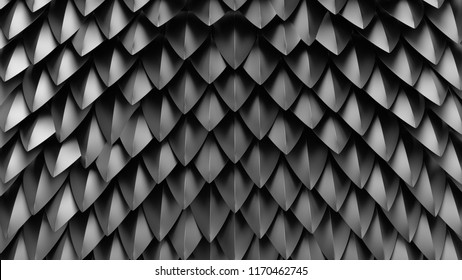 3d render abstract background with spike shapes. Fantasy dragon shell concept. Reflective metal surface.