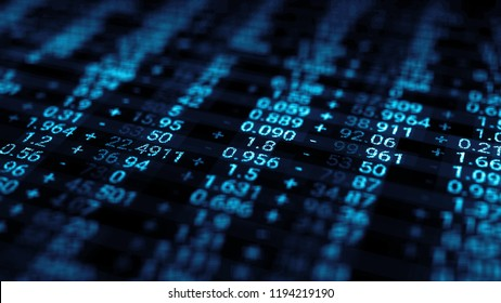 3d render abstract background with stock market digits. Financial concept. Stock market data on display.