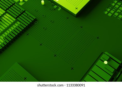 3d render abstract background. Technology surface with a lot of details. Simple geometry shapes extruded to random height.