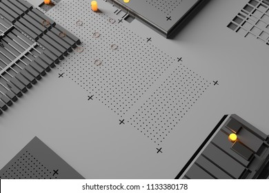 3d render abstract background. Technology surface with a lot of details. Simple geometry shapes extruded to random height. Monochrome with bright orange light elements