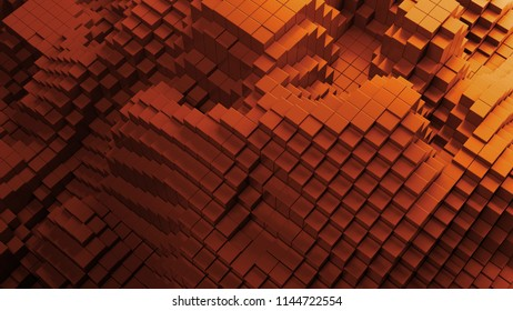 3d render abstract background with waves made of a lot of cube geometry primitive forms that goes up and down.