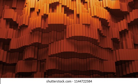 3d render abstract background with waves made of a lot of rectangle geometry primitive forms that goes up and down.