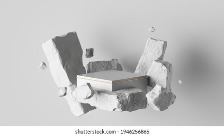 3d render, abstract background with white cobblestone ruins and broken blocks levitating. Modern minimal showcase with empty square podium for product presentation