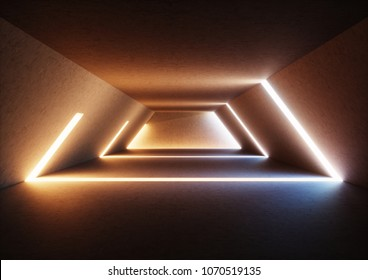3d render, abstract background, wide illuminated empty corridor, interior concrete walls, glowing lines, daylight, tunnel with no exit, sunset light rays, minimalistic space