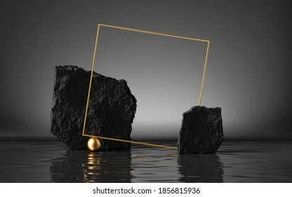 3d render, abstract black background with cobblestones and golden square frame, liquid floor with reflection in the water, modern minimal showcase for product presentation