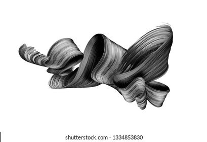 3d render, abstract black brush stroke, creative ink smear, folded ribbon, design element isolated on white background