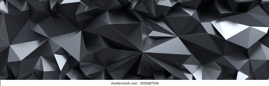 3d рендер, абстрактный черный кристалл фон, граненые текстуры, макро панорама, широкие панорамные многоугольные обои