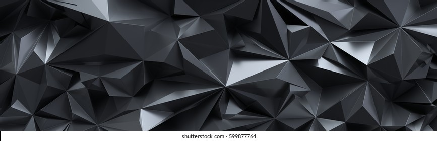 3d render, abstract black crystal background, faceted texture, panorama, wide panoramic polygonal wallpaper