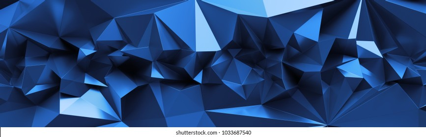 3d render, abstract blue crystal background, faceted texture, macro panorama, wide panoramic polygonal wallpaper