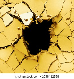 3d render, abstract broken wall background, digital illustration, explosion, cracked yellow eggshell, painted concrete, bullet hole, destruction
