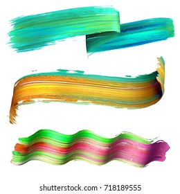 3d render, abstract brush stroke, smear, paint splash, splatter, colorful curl, artistic spiral, vivid ribbon, tape, clip art set isolated on white background