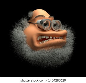 3d render of abstract cartoon character of crazy angry doctor professor with white grey clunky beard and old school metal glasses with scratches on black background