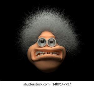 3d render of abstract cartoon character of old angry grandma with white grey curly hairs, with old metal glasses with big lenses with scratches, big open mouth with white teeth, on black background