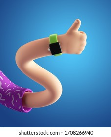 3d render, abstract cartoon character flexible wavy boneless hand, funny body part, like concept, thumb up gesture, isolated on bright blue background. Surrealistic clip art