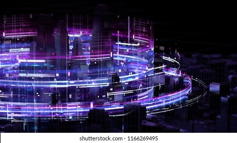 3d render abstract city background with bright digital patterns. Complex detailed technology concept.