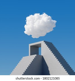 3d render, abstract cloudscape on a sunny day, white cloud levitates above the concrete stairs, cumulus on blue sky. Modern minimal surreal background, dream concept, challenge metaphor
