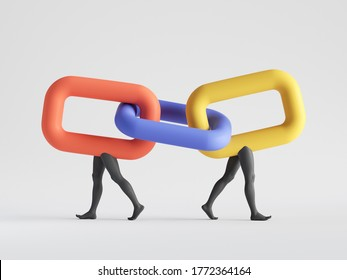 3d render. Abstract colorful chain links with mannequin legs connected together. Partnership metaphor. Family relations social role play. Minimal clip art isolated on white background