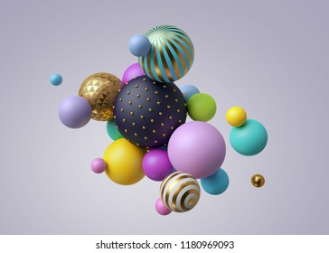 3d render, abstract colorful geometric background, multicolored balls, balloons, primitive shapes, minimalistic design, pastel colors palette, party decoration, plastic toys, isolated elements