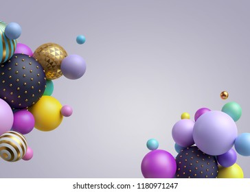 3d render, abstract colorful geometric background, multicolored balls, balloons, primitive shapes, minimalistic design, pastel colors, party decoration, plastic toys, copy space, isolated elements