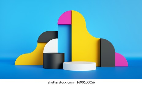 3d render, abstract colorful primitive geometric shapes, empty showcase, blank product display mockup with round stage, cylinder podium, pedestal, copy space. Pink, blue, yellow, black assorted blocks