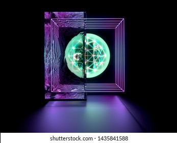 3d render of abstract 3d composition of 3d sphere with green neon electro lights with atomic wire structure inside neon cubes in outline with big prismatic glass on the left side on black background