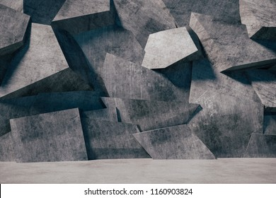 3d render of abstract concrete wall