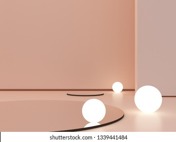 3d render, abstract cosmetic background to show a product. Empty scene with cylinder mirror and spherical lights  in the floor.  Pastel cream minimal wall. Fashion showcase, display case, shopfront.