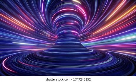 3d render, abstract cosmic background, ultra violet neon rays, glowing lines, cyber network, speed of light, space and time strings, bright twist