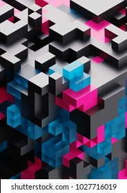 3d render, abstract cubic background, voxel structure, black geometric wallpaper, pink fragments, blue glass blocks