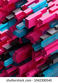 3d render, abstract cubic background, voxel structure, pink geometric wallpaper, black fragments, blue glass blocks