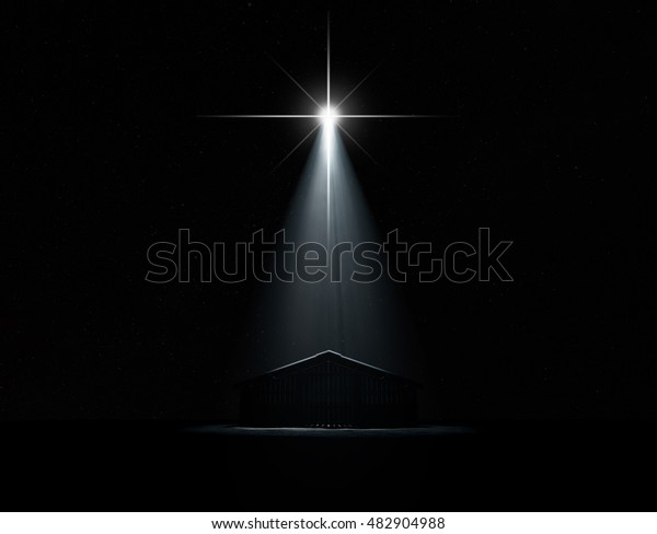 A 3D render of an abstract depiction of the nativity scene of christs birth in bethlehem with an isolated stable being spotlit by a bright star on  dark starry night background