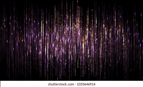 3d render, abstract digital background, vertical purple gold lines, rain, sparkling backdrop, noise, equalizer, spectrum