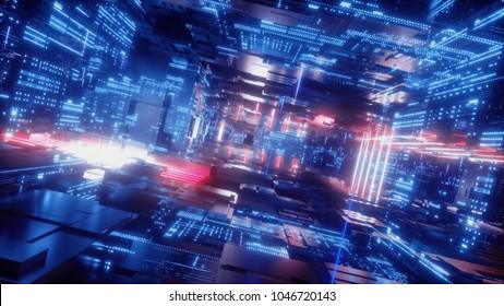 3d render, abstract digital background, big data, computer hardware, network, information, electronics, blue neon light