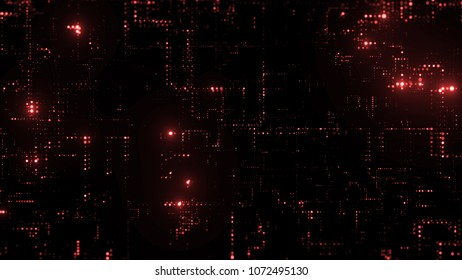 3d render abstract digital background with tech dots. Technology concept with bright glow circles particles.