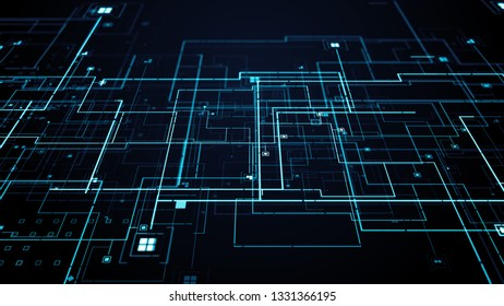 3d render abstract digital background with thick and thin lines. Square particles. Depth of field and details. Technology theme.