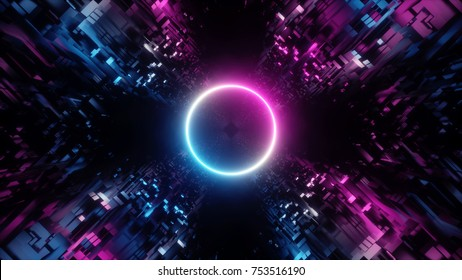 3d render, abstract digital background, big data, quantum computer network, cyber safety