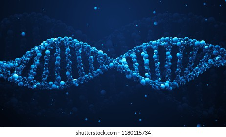 3d render abstract DNA strand made of spheres. Complex gene concept made of glossy simple primitives. Science and medical theme.