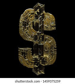 3d render of abstract dollar sign in gold wire atomic structure with liquid glass material around on black background