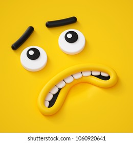 3d render, abstract emotional face icon, scared character illustration, cute cartoon monster, emoji, emoticon, toy