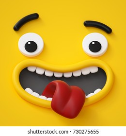 3d render, abstract emotional face icon, wondering character illustration, awaiting, cute cartoon monster, emoji, emoticon, toy